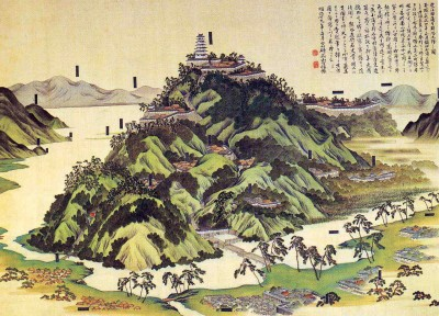 Azuchi-jô-zu, a drawing of the castle (Japan, source: Wikimedia)
